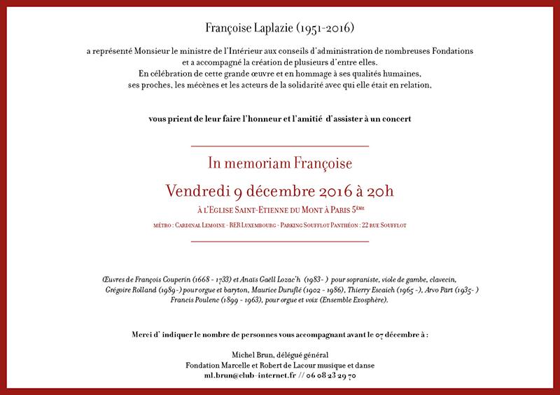 invitation concert hommage à Francois Laplazie